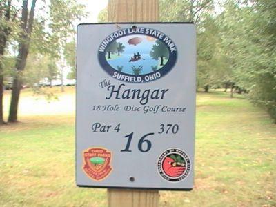 Wingfoot Lake State Park, Main course, Hole 16 Hole sign