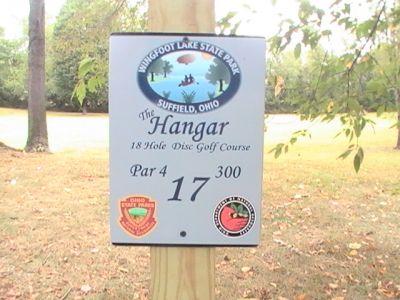 Wingfoot Lake State Park, Main course, Hole 17 Hole sign