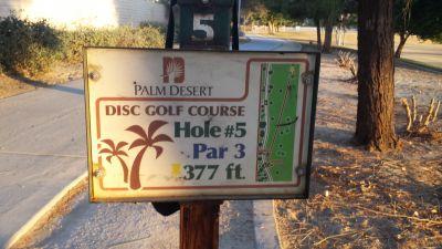 Palm Desert DGC, Main course, Hole 5 Hole sign