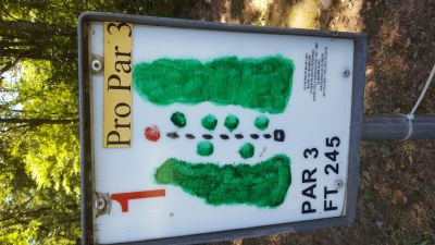 Flanacher Park, Main course, Hole 1 Hole sign