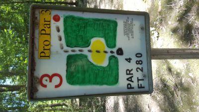 Flanacher Park, Main course, Hole 3 Hole sign