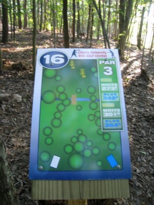Liberty University, Main course, Hole 16 Hole sign