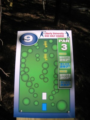 Liberty University, Main course, Hole 9 Hole sign