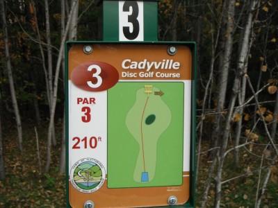 Cadyville Recreation Park, Cadyville DGC, Hole 3 Hole sign