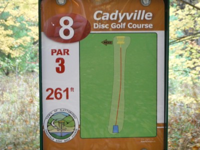 Cadyville Recreation Park, Cadyville DGC, Hole 8 Hole sign