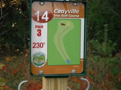 Cadyville Recreation Park, Cadyville DGC, Hole 14 Hole sign