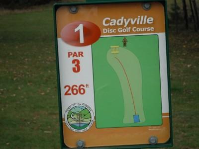 Cadyville Recreation Park, Cadyville DGC, Hole 1 Hole sign