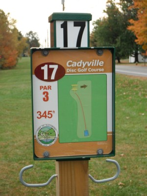 Cadyville Recreation Park, Cadyville DGC, Hole 17 Hole sign