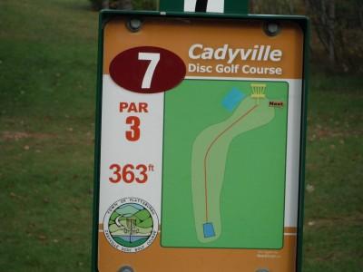 Cadyville Recreation Park, Cadyville DGC, Hole 7 Hole sign