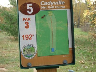 Cadyville Recreation Park, Cadyville DGC, Hole 5 Hole sign