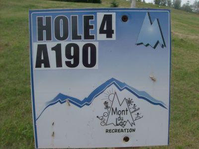 Mount Du Lac Recreation, Main course, Hole 4 Hole sign