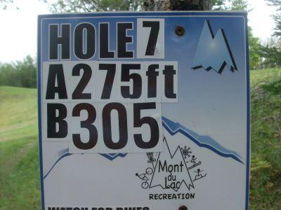 Mount Du Lac Recreation, Main course, Hole 7 Hole sign