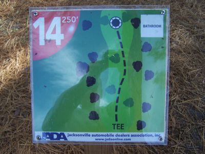 Ronnie Van Zant Memorial Park, Main course, Hole 14 Hole sign