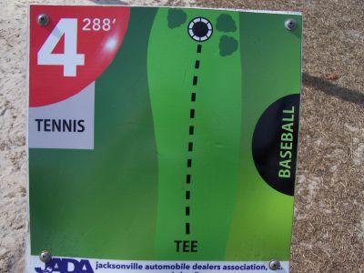 Ronnie Van Zant Memorial Park, Main course, Hole 4 Hole sign