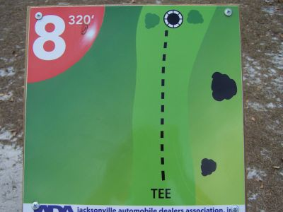 Ronnie Van Zant Memorial Park, Main course, Hole 8 Hole sign