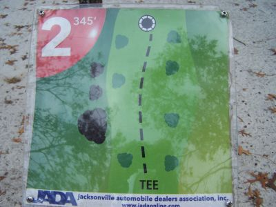 Ronnie Van Zant Memorial Park, Main course, Hole 2 Hole sign