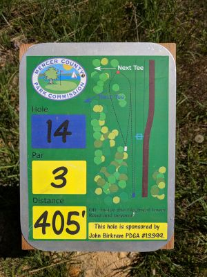Mercer County Park, Main course, Hole 14 Hole sign