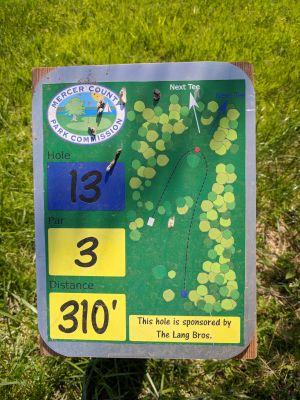 Mercer County Park, Main course, Hole 13 Hole sign