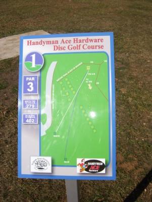 Fairborn Community Park, Handyman Ace Hardware DGC, Hole 1 Hole sign