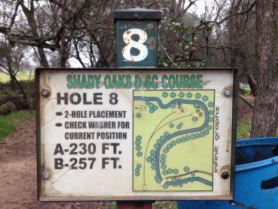 Shady Oaks Park, Main course, Hole 8 Hole sign