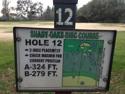 Shady Oaks Park, Main course, Hole 12 Hole sign
