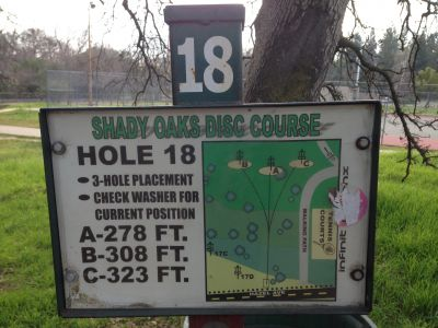 Shady Oaks Park, Main course, Hole 18 Hole sign