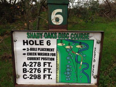 Shady Oaks Park, Main course, Hole 6 Hole sign