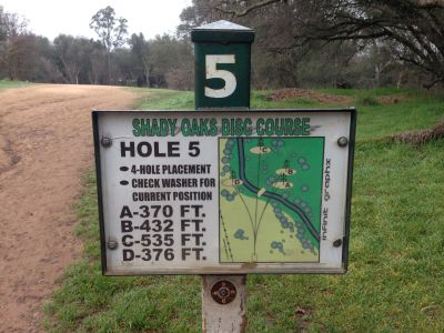 Shady Oaks Park, Main course, Hole 5 Hole sign