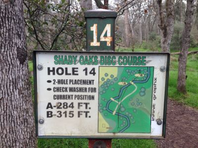 Shady Oaks Park, Main course, Hole 14 Hole sign