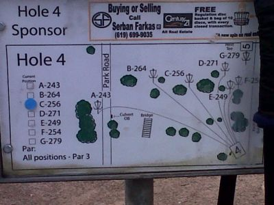 Morley Field, Main course, Hole 4 Hole sign
