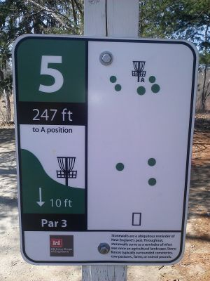 Buffumville Lake, Long Course, Hole 5 Hole sign