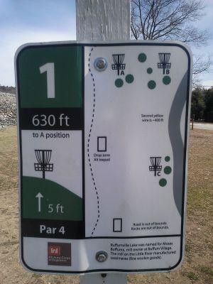 Buffumville Lake, Long Course, Hole 1 Hole sign