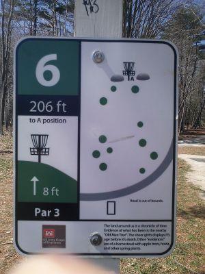 Buffumville Lake, Long Course, Hole 6 Hole sign