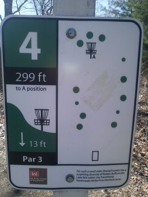 Buffumville Lake, Long Course, Hole 4 Hole sign