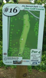 Jim Barnett Park, Main course, Hole 16 Hole sign
