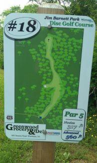 Jim Barnett Park, Main course, Hole 18 Hole sign