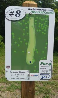 Jim Barnett Park, Main course, Hole 8 Hole sign