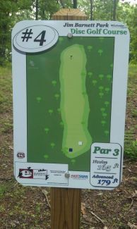 Jim Barnett Park, Main course, Hole 4 Hole sign