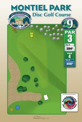 Montiel Park, Main course, Hole 9 Hole sign
