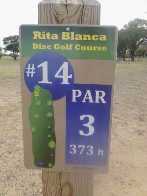 Rita Blanca DGC, Main course, Hole 14 Hole sign