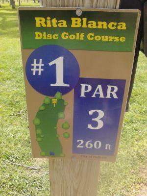 Rita Blanca DGC, Main course, Hole 1 Hole sign