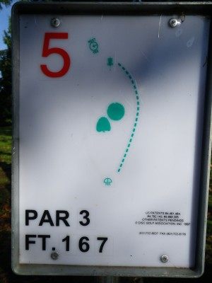 Northwest University, Northwest University DGC, Hole 5 Hole sign