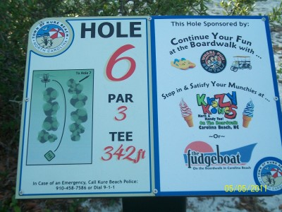 Joe Eakes Park, Main course, Hole 6 Hole sign