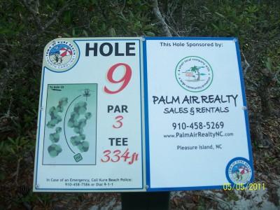 Joe Eakes Park, Main course, Hole 9 Hole sign