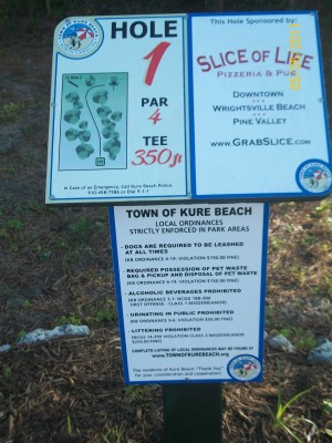 Joe Eakes Park, Main course, Hole 1 Hole sign