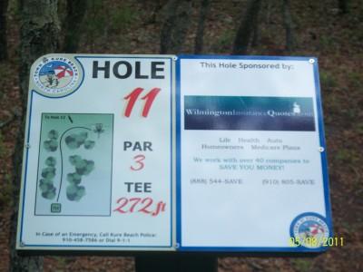 Joe Eakes Park, Main course, Hole 11 Hole sign