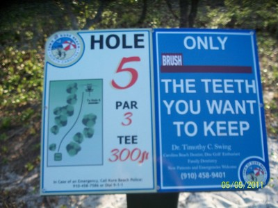Joe Eakes Park, Main course, Hole 5 Hole sign