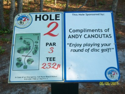 Joe Eakes Park, Main course, Hole 2 Hole sign