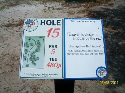 Joe Eakes Park, Main course, Hole 15 Hole sign