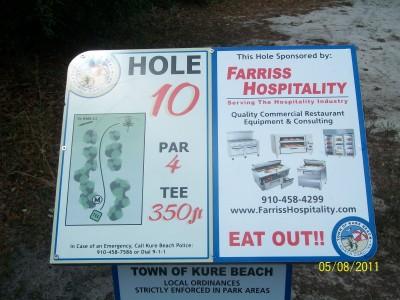 Joe Eakes Park, Main course, Hole 10 Hole sign
